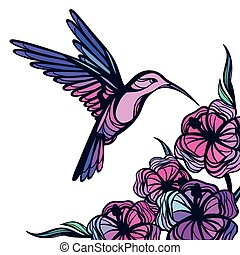 Flying tropical hummingbird on white background with flowers...