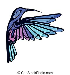 Flying tropical stylized hummingbird on white background.