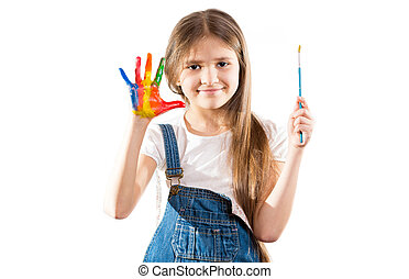 little artist girl showing painted hands - Cute little...