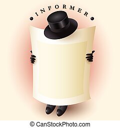 Informer Hat - Creative, cartoon image of a man as an...