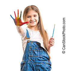 isolated shot of cute smiling girl showing painted colorful...