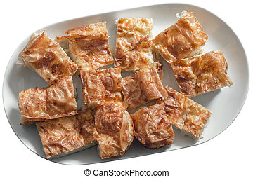 Serbian Traditional Gibanica Cheese Pie Slices on White...