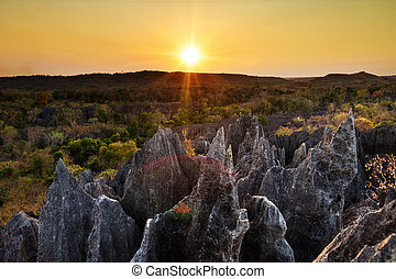 Tsingy tourism sunset - Beautiful sunset view on the unique...