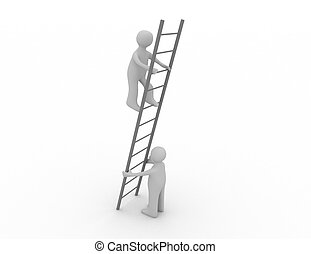 3d person is helping another to climb