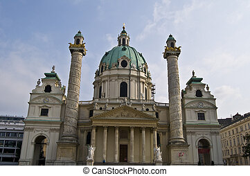 Karlskirche - detail of the famous Karlskirche in Vienna