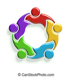 3D Group of 5 people - 3D Group of people holding each...