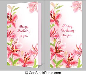 Birthday card with alstromeria