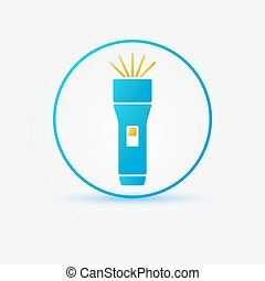 Bright flashlight vector icon - simple flashlight blue...