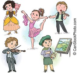 Creative profession kids - Set of pictures with children in...