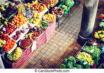 Fresh exotic fruits at the market. Funchal, Madeira - Fresh...