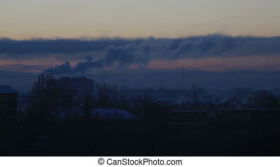 Sunrise over the city Omsk. Time Lapse