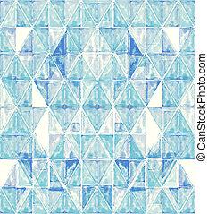 acuarela, triángulos,