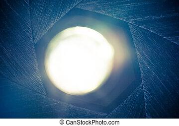 lente, luz, diafragma, por