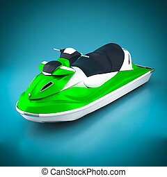 Jet ski on a beautiful blue background