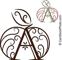 Artistically drawn, stylized, lace vector apple and A....