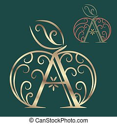Artistically drawn, stylized, lace vector apple and A Vector...