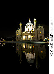Karlskirche - beautiful Karlskirche in Vienna at night with...
