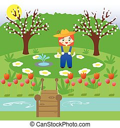 Little gardener in a flower garden - Little gardener nursing...