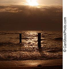 Sunset on the Sea - Seacoast before the storm Azov Sea...