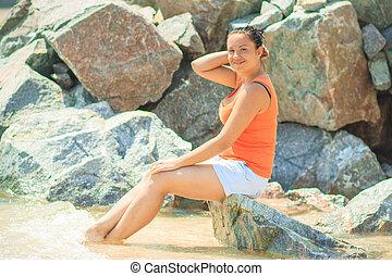 Woman near the sea - The woman on the sea coast Azov Sea