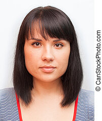 passport photo - photo for documents woman young brunette...