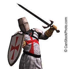 Templar Knight in Battle - A Templar Knight in battle - 3D...
