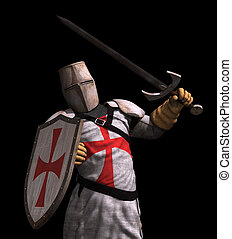 Templar Knight in Battle - on black - A Templar Knight in...