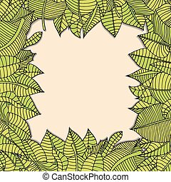 leaves frame - Beautiful square frame of cartoon leaves....