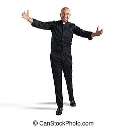 Cheerful priest - Cheerful man priest meets his faithful...