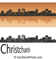 Christchurch skyline in orange background in editable vector...