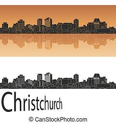 Christchurch skyline in orange background in editable vector...