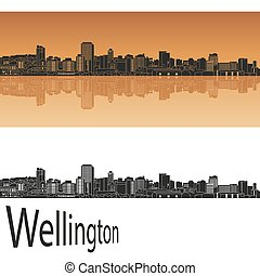 Wellington skyline in orange background in editable vector...