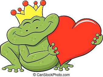 frog prince holding a red heart - vector illustration of a...