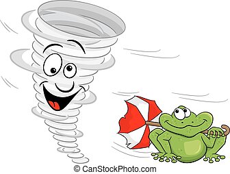 cartoon tornado with frog - vector illustration of a cartoon...
