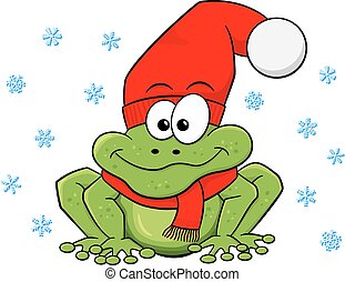 cartoon frog with hat and scarf in winter - vector...