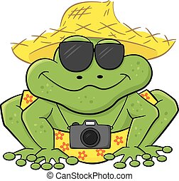 frog as a tourist with camera, sunglasses and straw hat -...