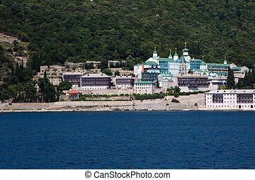 Russian St. Panteleimon Orthodox monastery at Mount Athos,...