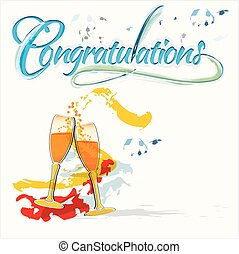 Congratulations with champagne glasses - Celebration with...