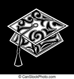 Graduation mortar board stylized with floral scrolls.