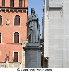 Statue of Dante in the historic center of Verona