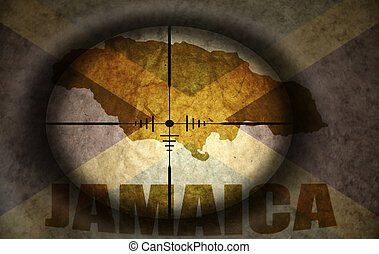 sniper scope aimed at the vintage jamaican flag and map