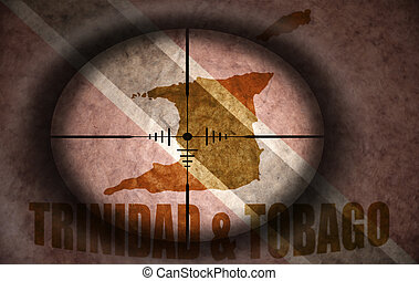 sniper scope aimed at the vintage trinidad flag and map
