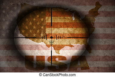 sniper scope aimed at the vintage american flag and map