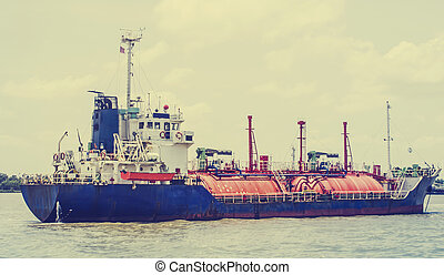 boat - Petrochemical gas energy in water transportation...