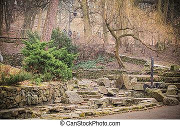 small stone bridge over the creek