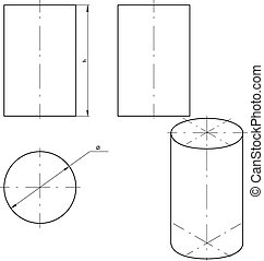 Cylinder - vector drawing of cylinder