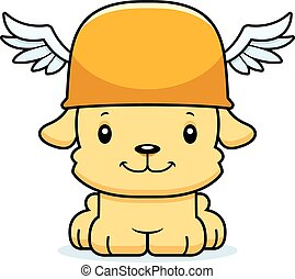 Cartoon Smiling Hermes Puppy - A cartoon Hermes puppy...
