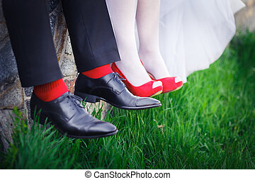 groom bride, wedding shoes, red - Wedding shoes red women on...