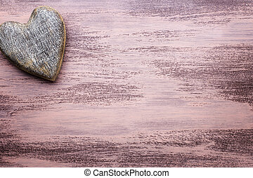 Heart - Valentines Day greeting card Heart on a wooden...