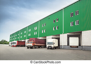 trucks dock warehouse - The warehouse complex for the...